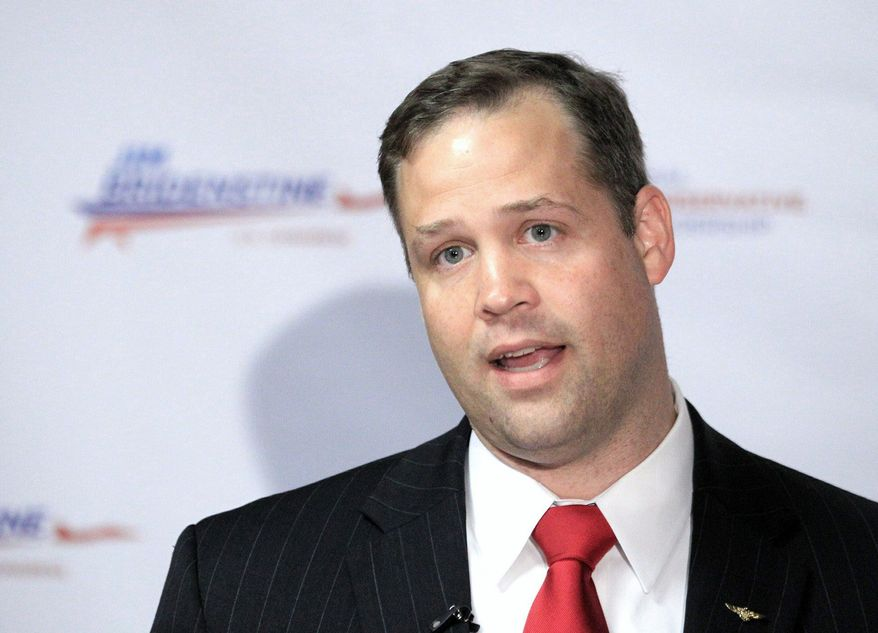 Jim Bridenstine, a former director of a Tulsa space museum, defeated Rep. John Sullivan in Oklahoma's Republican primary on Tuesday. He promised to serve no more than three terms if elected. (Associated Press)
