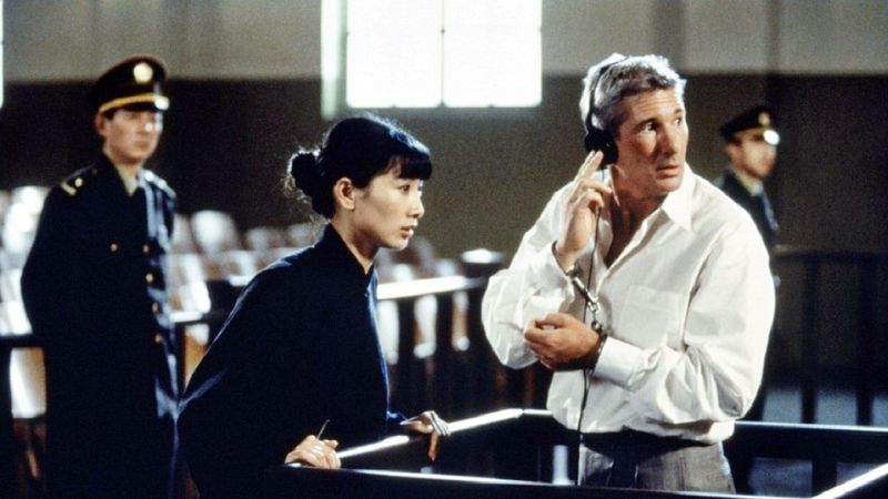 "China has been getting perceptibly friendlier treatment in American movies lately including Bai Ling and Richard Gere in ""Red Corner."" (MGM Studios Inc. via Associated Press)"
