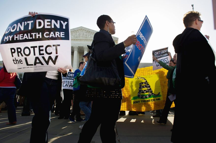 Protesters on both sides of the Affordable Care Act were out in force March 26 at the Supreme Court when justices heard arguments on President Obama's health care law. On Thursday, the justices will deliver their opinion. (Andrew Harnik/The Washington Times)