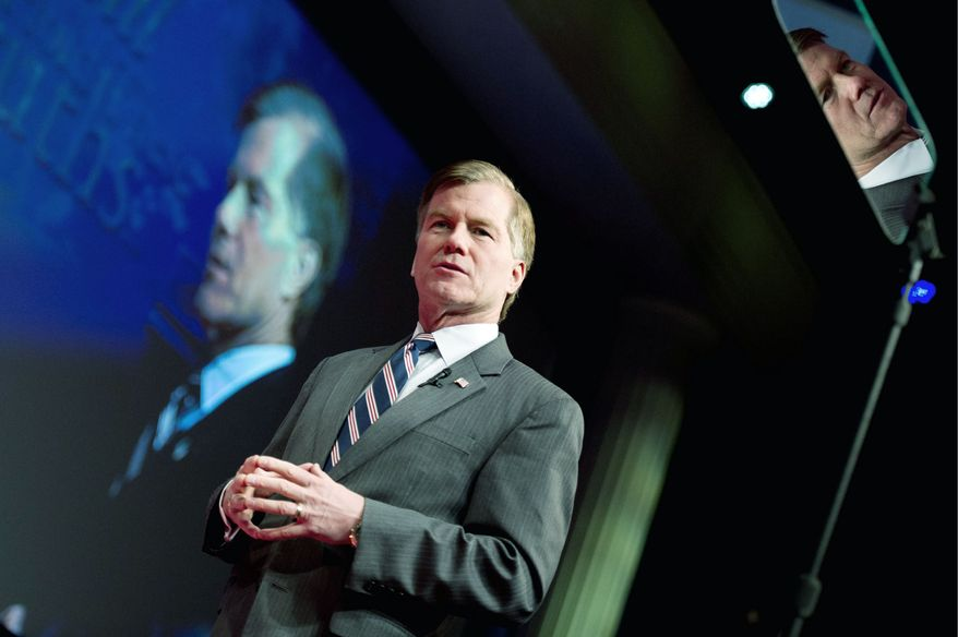 Virginia Gov. Bob McDonnell speaks at the Conservative Political Action Conference held in Washington in February. Currently, he is campaigning for presumed Republican presidential nominee Mitt Romney. (Andrew Harnik/The Washington Times)