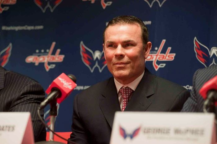 Washington Capitals CEO Dick Patrick, Founder and Chairmen Ted Leonsis , and Vice President and General Manager George McPhee, introduce new head coach Adam Oates during a press conference at Verizon Center on Wednesday, June 27, 2012, in Washington D.C. (Raymond Thompson/The Washington TImes)