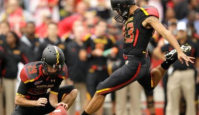 Maryland kicker Nick Ferrara was just 12 for 20 on field goal attempts in 2011, including missing five of his final eight tries. He connected on just one attempt longer than 33 yards, and three attempts were blocked. (Associated Press)