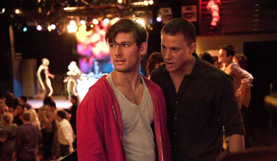 "This film image released by Warner Bros. shows Alex Pettyfer, left, and Channing Tatum in a scene from ""Magic Mike."" A stage adaptation of the 2012 movie is coming to Broadway sometime in the 2016-17 theater season. (AP Photo/Warner Bros., Claudette Barius)"