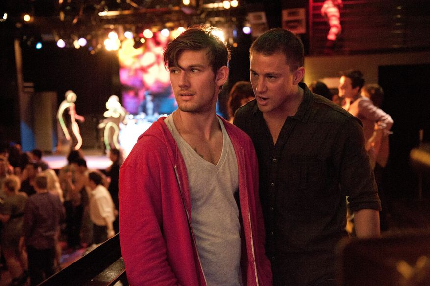 """This film image released by Warner Bros. shows Alex Pettyfer, left, and Channing Tatum in a scene from """"Magic Mike."""" A stage adaptation of the 2012 movie is coming to Broadway sometime in the 2016-17 theater season. (AP Photo/Warner Bros., Claudette Barius)"""