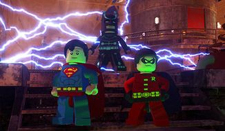 Superman, the Dark Knight and Robin team up in the video game Lego Batman 2: DC Super Heroes.