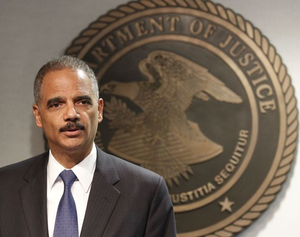 Attorney General Eric Holder speaks during a news conference in New Orleans, Thursday, June 28, 2012. The Obama administration and House Republicans refused to find a middle ground in a dispute over documents related to a botched gun-tracking operation, and the GOP plunged ahead with plans for precedent-setting votes Thursday to hold Attorney General Eric Holder in civil and criminal contempt of Congress. (AP Photo/Bill Haber)