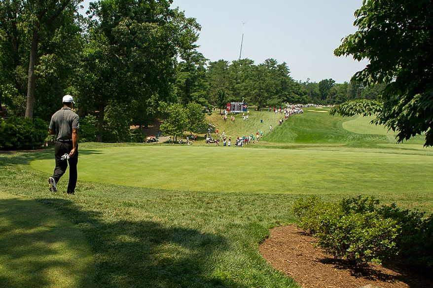 Tiger Woods starts his round in the afternoon on the first day of the AT&T National golf tournament held at Congressional Country Club, Bethesda, Md., Thursday, June 28, 2012. (Andrew Harnik/The Washington Times)