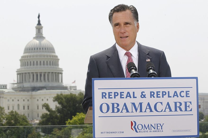 With the U.S. Capitol in the background, Republican presidential candidate and former Massachusetts Gov. Mitt Romney speaks about the Supreme Court's health care ruling on June 28, 2012. (Associated Press)
