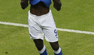 Mario Balotelli scored both of Italy's goals as it defeated Germany 2-0 in the Euro 2012 semifinal match Thursday. (AP Photo/Vadim Ghirda)