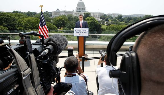 With the Capitol in the background, Republican presidential candidate, former Massachusetts Gov. Mitt Romney speaks about the Supreme Court's health care ruling, Thursday, June 28, 2012, in Washington. (AP Photo/Charles Dharapak)