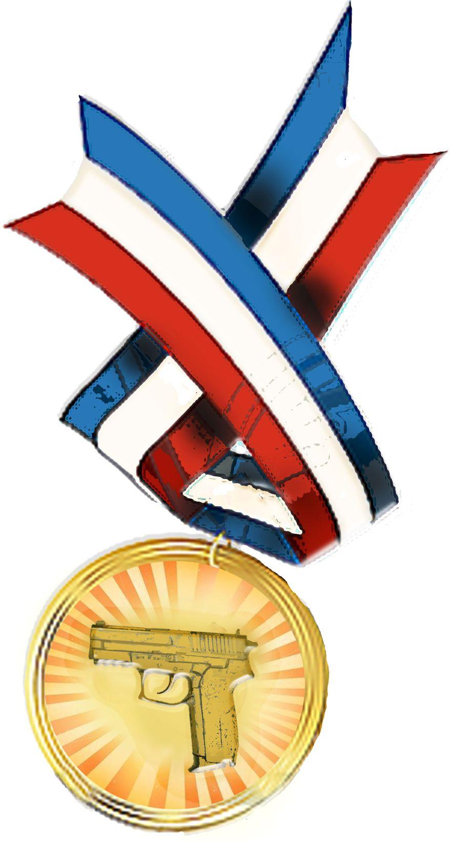 Illustration Gun Medal by John Camejo for The Washington Times