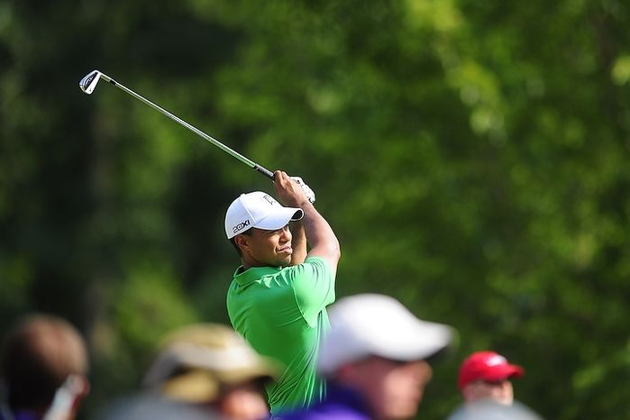 Tiger Woods tees off at Congressional Country Club during second round play of the AT&T National golf tournament, Bethesda, Md., Saturday, June 30, 2012.  (Ryan M.L. Young/The Washington Times)