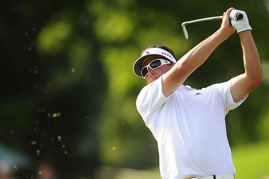 Pat Perez tees off on the tenth hole at Congressional Country Club during third round play of the AT&T National golf tournament, Bethesda, Md., Saturday, June 30, 2012.  (Ryan M.L. Young/The Washington Times)