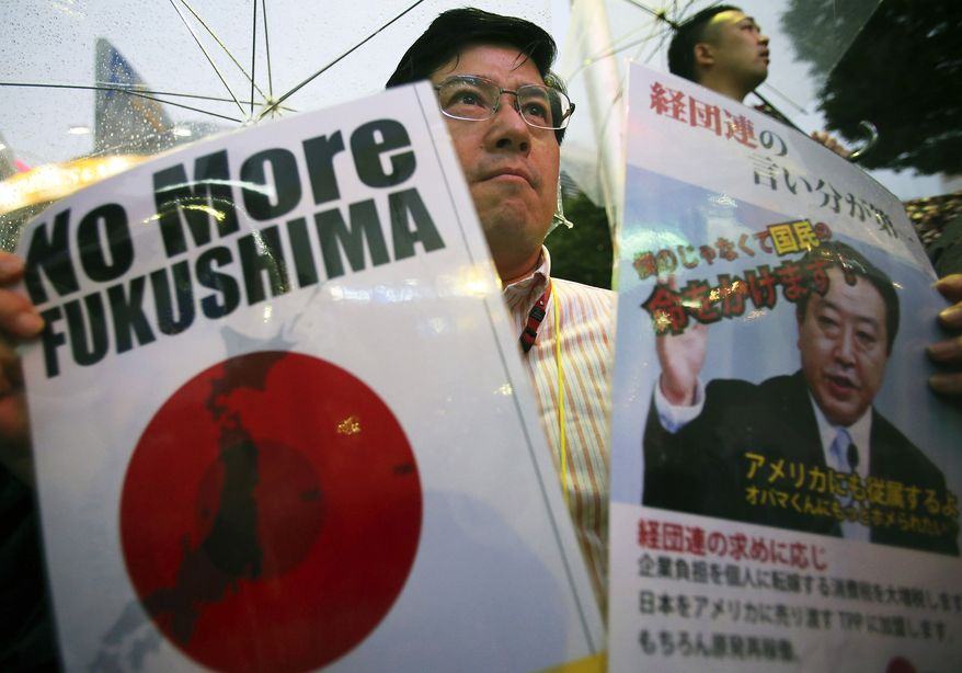 A demonstrator holds a slogan and a photo of Japanese Prime Minister Yoshihiko Noda during a rally in Tokyo on Sunday, July 1, 2012, to protest the restart of a reactor at the Ohi nuclear power plant. (AP Photo/Shizuo Kambayashi)