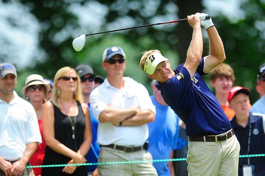 Billy Hurley III hits his tee shot on the fourth hole at Congressional Country Club during final round play of the AT&T National golf tournament, Bethesda, Md., Sunday, July 1, 2012.  (Ryan M.L. Young/The Washington Times)