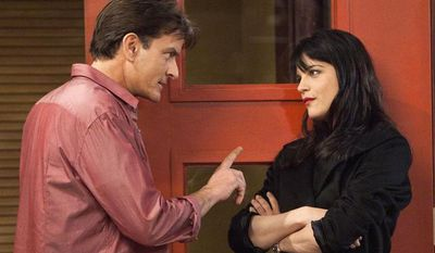 """** FILE ** This publicity image provided by FX shows Charlie Sheen as Charlie Goodson and Selma Blair as Kate Wales in a scene from the new comedy """"Anger Management."""" FX network says Thursday's debut of his sitcom, """"Anger Management,"""" was the most-watched series premiere in that network's history, drawing 5.5 million viewers. (AP Photo/FX, Adam Rose)"""