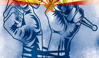 Illustration Tying States' Hands by Linas Garsys for The Washington Times
