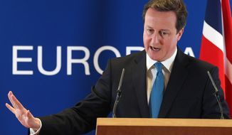 **FILE** British Prime Minister David Cameron speaks March 2, 2012, during a media conference after an EU summit in Brussels. (Associated Press)