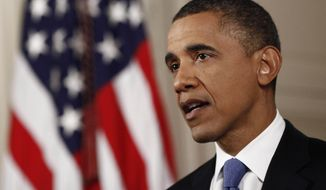 **FILE** President Obama speaks June 28, 2012, at the White House in Washington. (Associated Press)