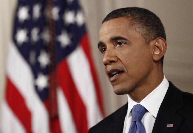 **FILE** President Obama speaks June 28, 2012, at the White House in Washington. (Associated Press)