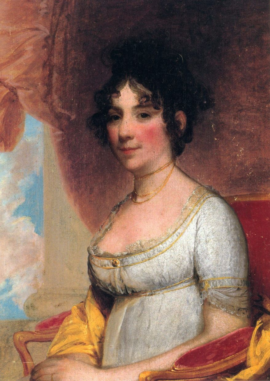 First lady Dolley Madison rescued a portrait of George Washington when she fled the White House set afire by the British in August 1814. (Associated Press)