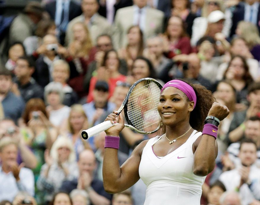 Serena Williams put away defending Wimbledon champion Petra Kvitova 6-3, 7-5 to set up a semifinal match with Victoria Azarenka on Thursday. (Associated Press)