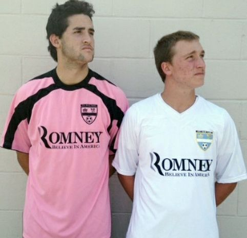 Minor-league soccer team F.C. New York was prohibited from wearing jerseys with an advertisement supporting Mitt Romney because of regulations stated by FIFA, the sport's international governing body. (Courtesy of F.C. New York)