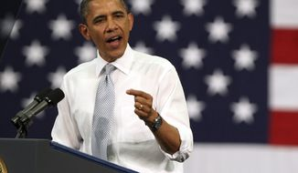 **FILE** President Obama speaks April 10, 2012, at Florida Atlantic University in Boca Raton, Fla. (Associated Press)
