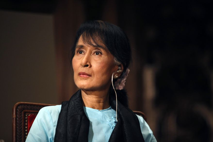 Myanmar opposition leader Aung San Suu Kyi (AP Photo/Thibault Camus)