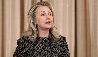 Secretary of State Hillary Rodham Clinton speaks at the State Department in Washington on Tuesday, June 12, 2012. (AP Photo/Pablo Martinez Monsivais)