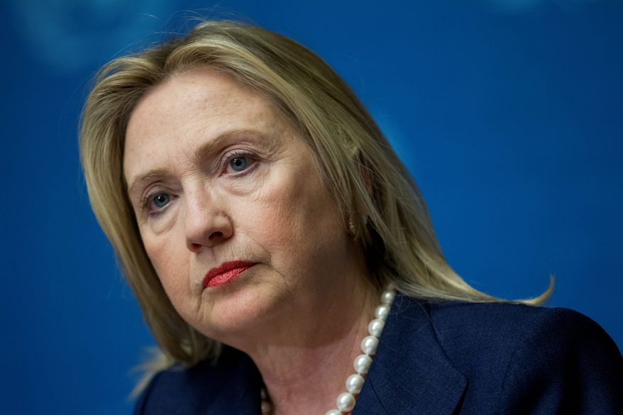 """""""What we have done here is to strip away the fiction that ... those with blood on their hands can stay in power,"""" Secretary of State Hillary Rodham Clinton said. (Associated Press)"""