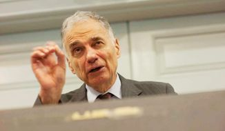 Consumer activist Ralph Nader (Raymond Thompson/The Washington Times) **FILE**