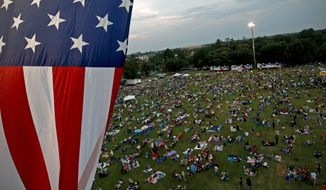 **FILE** A U.S. flag flies July 3, 2012, over a field during the Fanfare and Fireworks celebration at the University of Florida in Gainesville, Fla. (Associated Press/The Gainesville Sun)