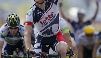 Andre Greipel of Germany won the fourth stage of the Tour de France, which was over 214.5 kilometers (133.3 miles) with a start in Abbeville and finish in Rouen, France, on Wednesday July 4, 2012. (AP Photo/Laurent Rebours)