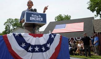 """President Obama speaks Thursday at the Wolcott House Museum Complex in Maumee, Ohio, as part of a two-day """"Betting on America"""" bus tour across Ohio and Pennsylvania. Mr. Obama flipped counties across the Rust Belt en route to winning the 2008 presidential election. (Associated Press)"""