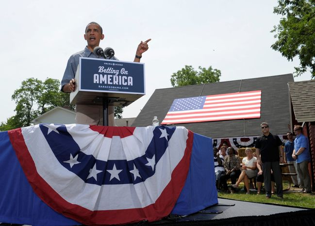 "President Obama speaks Thursday at the Wolcott House Museum Complex in Maumee, Ohio, as part of a two-day ""Betting on America"" bus tour across Ohio and Pennsylvania. Mr. Obama flipped counties across the Rust Belt en route to winning the 2008 presidential election. (Associated Press)"
