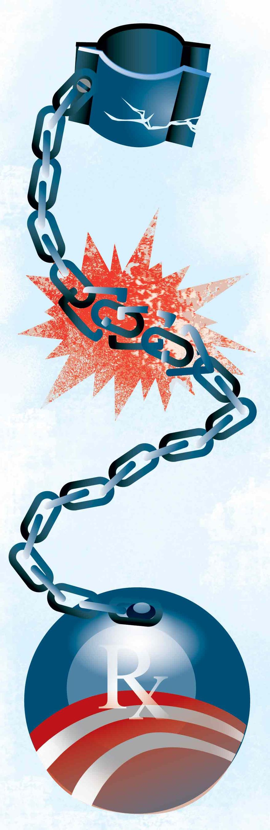 Illustration Breaking the Chains of Obamacare by Linas Garsys for The Washington Times