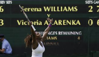 Serena Williams celebrates after defeating Victoria Azarenka in the Wimbledon semifinals on July 5, 2012, in Wimbledon, England. (Associated Press)