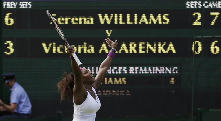 Serena Williams celebrates after defeating Victoria Azarenka in the Wimbledon semifinals on July 5, 2012, in Wimbledon, England. (Associated Press)