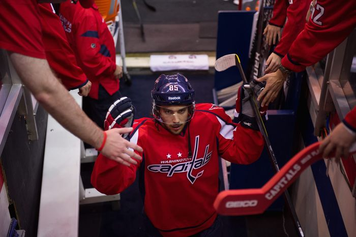 Center Mathieu Perreault scored a career-best 16 goals for the Capitals last season, mostly filling in for injured Nicklas Backstrom. Perreault anticipates more production as his ice time increases. (Andrew Harnik/The Washington Times)