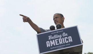 President Obama speaks at the Wolcott House Museum Complex in Maumee, Ohio, Thursday, July 5, 2012. Obama is on a two-day bus trip through Ohio and Pennsylvania.(AP Photo/Susan Walsh)