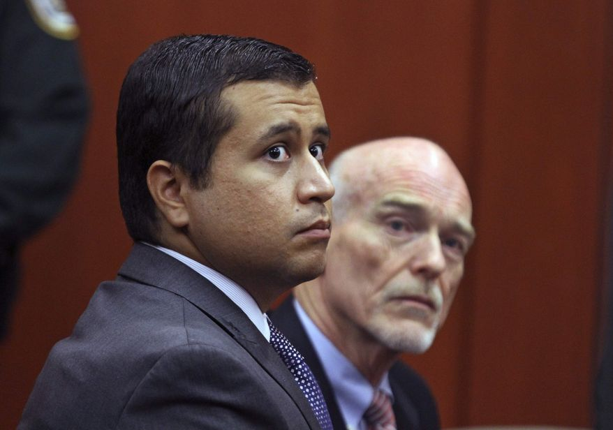 ** FILE ** George Zimmerman (left) and attorney Don West sit during a bond hearing at the Seminole County Criminal Justice Center in Sanford, Fla., on Friday, June 29, 2012. Mr. Zimmerman is charged with second-degree murder in the shooting of Trayvon Martin. (Associated Press/Orlando Sentinel)