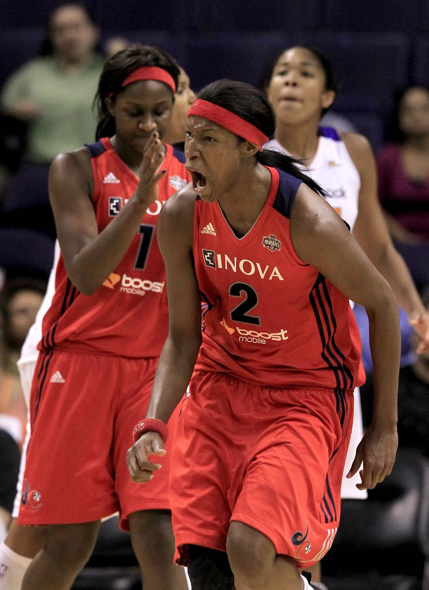 Mystics center Michelle Snow is growing tired of losing, and she let her frustration be known after her team's 78-73 loss to the San Antonio Silver Stars on Friday night. (AP Photo/Ross D. Franklin)