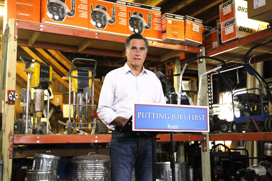 Republican presidential candidate Mitt Romney speaks July 6, 2012, at Bradley's Hardware in Wolfeboro, N.H., about job numbers. (Associated Press)