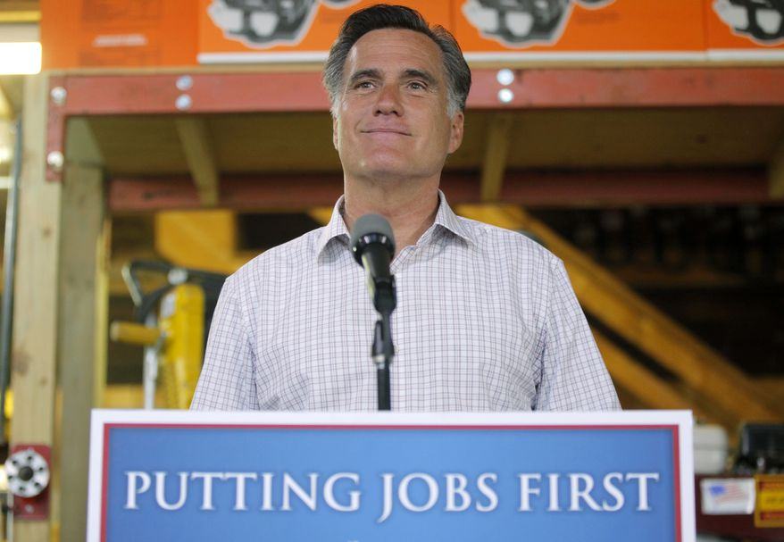 Republican presidential candidate Mitt Romney speaks July 6, 2012, at Bradley's Hardware in Wolfeboro, N.H., about job numbers. (Associated Press)