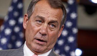 **FILE** House Speaker John Boehner of Ohio speaks June 28, 2012, on Capitol Hill in Washington. (Associated Press)