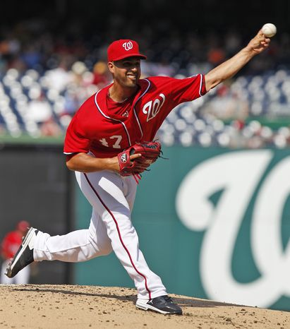 Nationals starter Gio Gonzalez earned his 12th win Saturday, giving up one run in six innings with six strikeouts in his team's 4-1 win over the Rockies. (AP Photo/Alex Brandon)