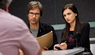 "Eric McCormack and Rachael Leigh Cook appear in a scene from ""Perception,"" which premieres Monday on TNT. Mr. McCormack portrays Dr. Daniel Pierce, a brilliant neuroscience professor with paranoid schizophrenia who is recruited by the FBI for a side job: to help solve cases that call for expertise in human behavior. (Associated Press)"