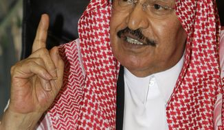 **FILE** Saudi Prince Mohammed bin Saud bin Abdel-Aziz speaks May 12, 2009, with his visitors at his palace in Riyadh, Saudi Arabia. (Associated Press)
