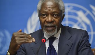 **FILE** Kofi Annan, Joint Special Envoy of the United Nations and the Arab League for Syria, speaks June 30, 2012, during a news conference at the U.N. headquarters in Geneva. (Associated Press/Keystone)